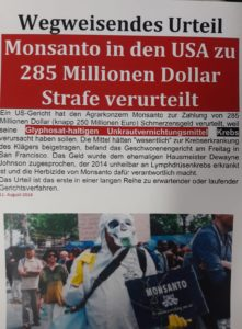 Monsanto in den USA zu 285 Millionen Dollar Strage verurteilt