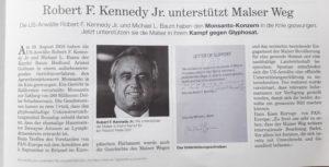 Robert R Kennedy Jr. und Michael L. Baum unterstützen den Malser Weg