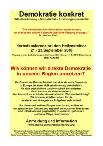 Demokratie konkret: Herbstkonferenz bei den Helfensteinen - 21.- 23.September 2018