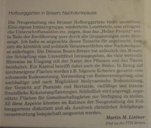 Hofburggarten Brixen; Leserbrief aus der FF vom 20.09.18