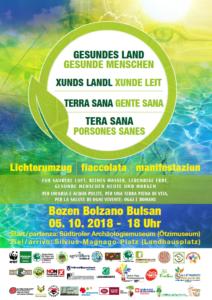 Plakat: Lichterumzug in Bozen, Gesundes Land - Gesunde Menschen