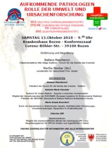 Aufkommende Pathologien, Tagung am 13. Oktober, Krankenhaus Bozen