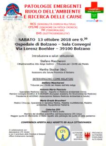 conferenza, patologie emergenti, Bolzano, 13. ottobre 2018
