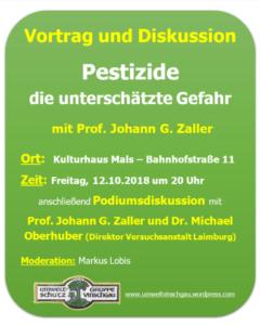 Vortrag Prof. Johann G. Zaller