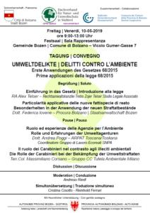 Umweltdelikte, Tagung am 10.Mai 2019 in Bozen
