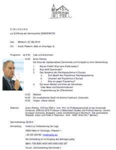 Seminarreihe Demokratie, 22. Mai 2019 in Plawenn (Mals) mit Anton Pelinka