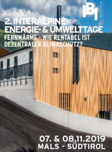2. Interalpine Energie- & Umwelttage in Mals am 07. und 08. November 2019