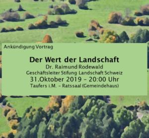 Der Wert der Landschaft - Vortrag mit Dr. Raimund Rodewald