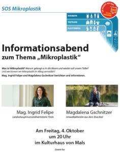 Vortrag über Mikroplastik - Ingrid Felipe und Maggy Gschnitzer