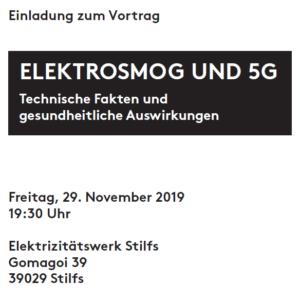 Vortrag Elektrosmog und 5G in Stilfs