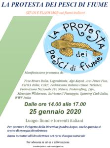 PROTESTA dei PESCI di FIUME -  SIT-IN e FLASH MOB sui fiumi italiani  - 25 gennaio 2020